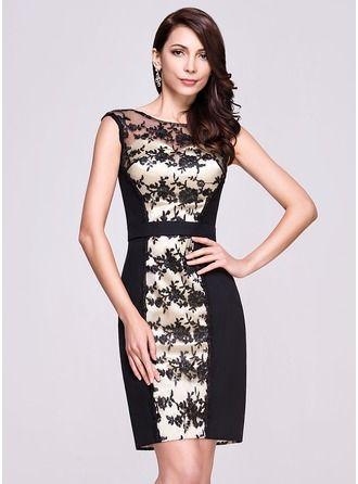 Sheath/Column Scoop Neck Knee-Length Chiffon Lace Cocktail Dress http://bit.ly/1e4q9ID