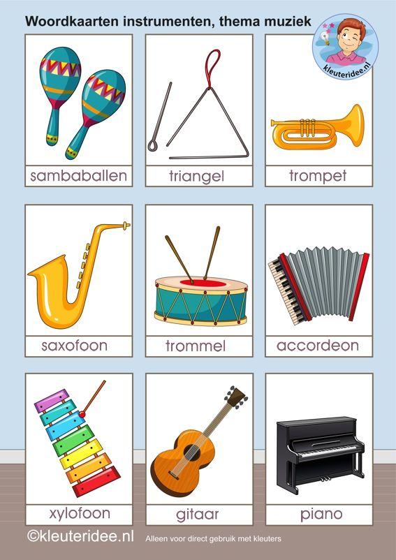 Woordkaarten muziekinstrumenten 1, algemeen, kleuteridee.nl, free printable.