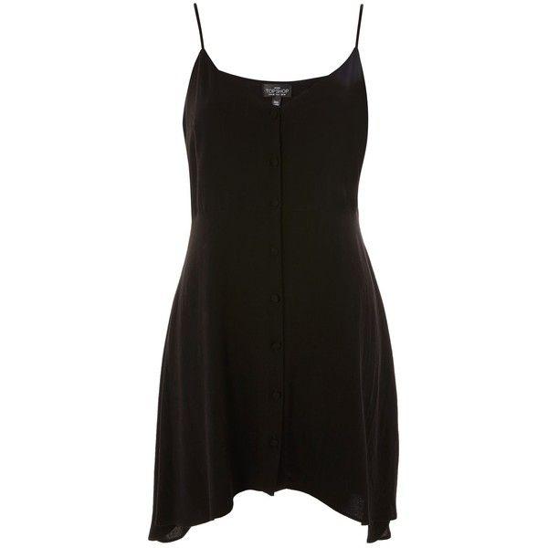 Topshop Petite Button Asymmetric Hem Mini Dress ($41) ❤ liked on Polyvore featuring dresses, black, short dresses, asymmetrical hem dresses, petite dresses, button dress and mini dress