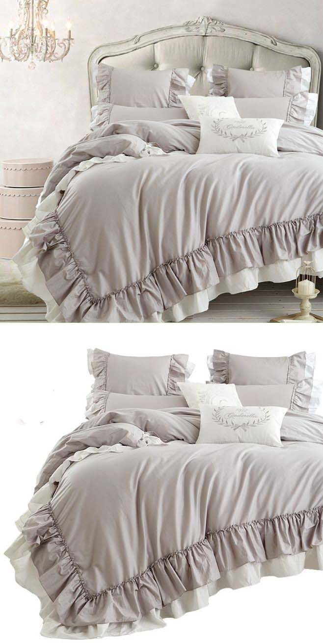 Grace Double Ruffle Duvet Cover Set Ruffle Duvet Cover Duvet