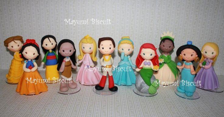 Mayumi Biscuit: Príncipe e Princesas Branca de neve, Aurora, Bela, Cinderela, Ariel, Pocahontas, Jasmine, Tiana, Rapunzel, Mulan