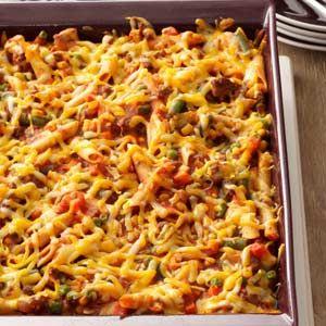 Sloppy Joe Veggie Casserole Recipe -Sloppy joe flavor meets veggie lasagna wholesomeness. My family loves this dynamic duo, and you'll love how simple it is to prepare. —Sue Schmidtke, Oro Valley, Arizona