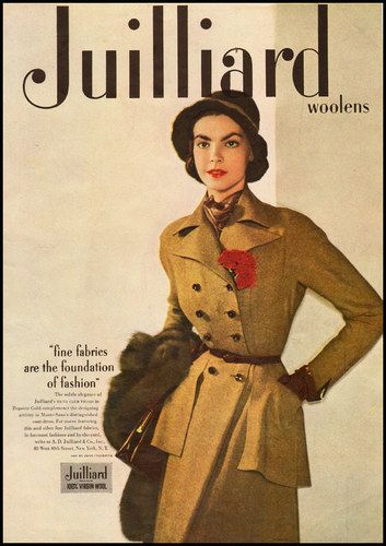 1940s Style Dresses Fashion Clothing: 1949 Ad For Julliard Woolen Fashions. #vintage #1940s