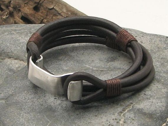 FREE SHIPPINGMen's leather bracelet Brown leather by eliziatelye, $28.00