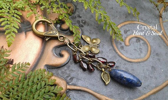 Garnet and Lapis lazuli purse bag charm, Butterfly bag purse charm, gemstone bag purse charm, Lapis and Garnet keychain, bag accessories