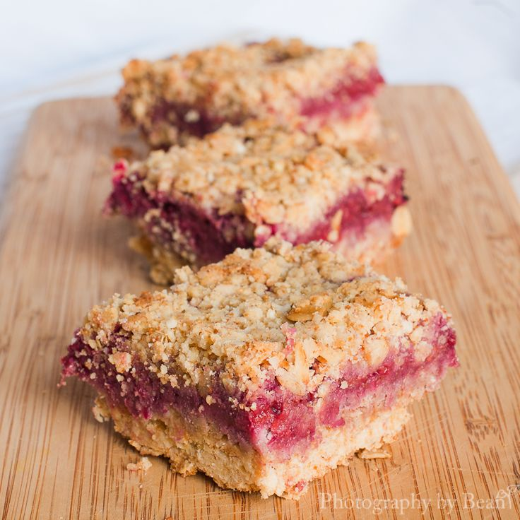 Raspberry Squares: These are delicious and easy to make! Gluten free, dairy free, processed sugar free, and yummy-full!! Even my husband likes them!