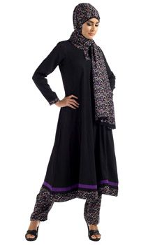 Black & Purple Print Salwar Kameez
