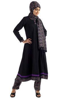 Black & Purple Print Salwar Kameez