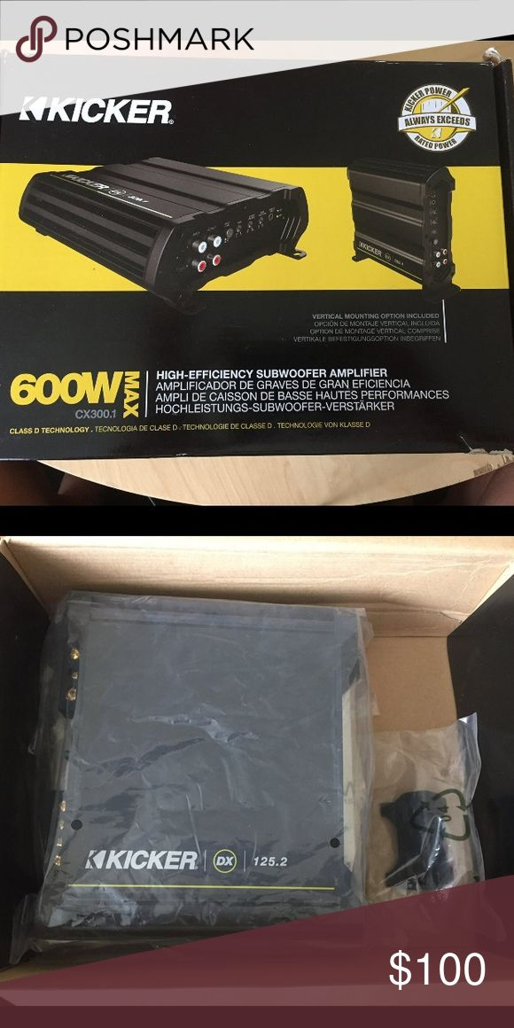 Kicker Amp Kicked amp for car sub. Never used. 600W. Comes with certified watt output certificate, screws to sub box. Other