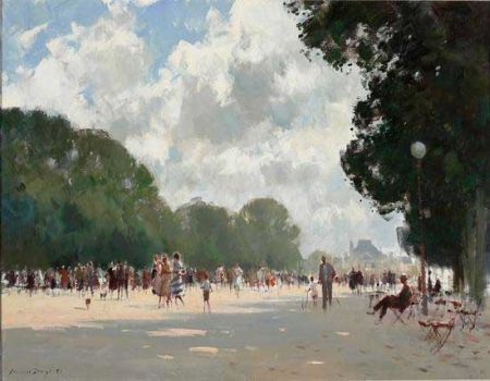 'Summer Afternoon Tuilieries', by Edward Seago.  A beautiful summer scene with sunlight and shade, and gorgeous trees.