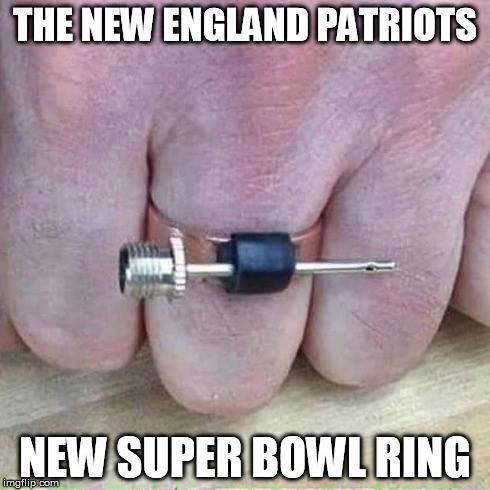 The Patriots new Super Bowl ring Bahahahahahahaha