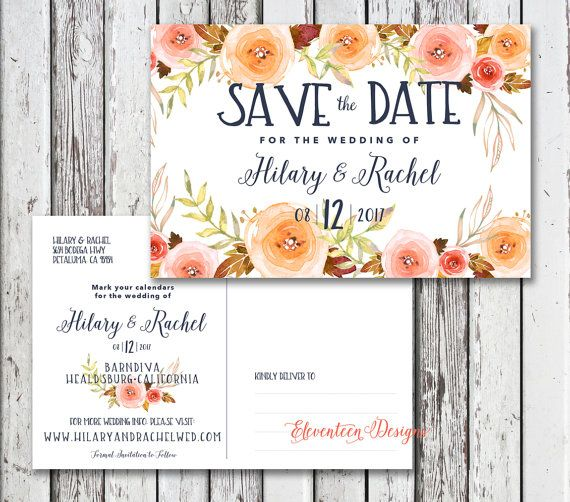 Save the Date Postcard Boho Save the Date by CoralLanePaper