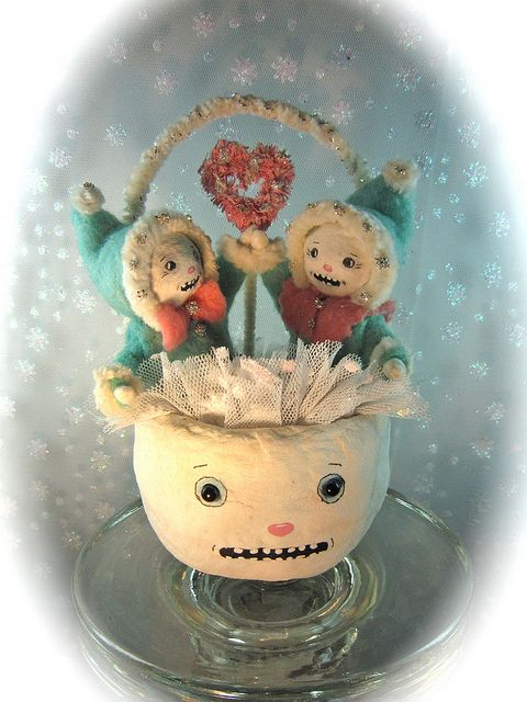 """Snow Love"" spun cotton art doll ornament by Marie Patterson Studio - on Ebay by Marie Patterson, via Flickr"