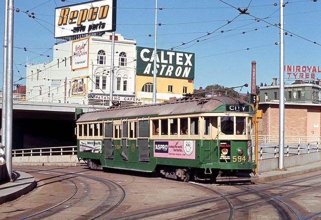 Melbourne and Metropolitan Tramways Board W2 class tram 594 on Route 5 City on reserved track at St. Kilda Road and Queens Way Junction, St. Kilda, Melbourne, Victoria, Australia. by express000