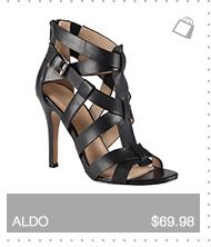 Multi strap upper, back counter piece with zipper, high stiletto heel -  cognac or black, from ALDO Shoes.