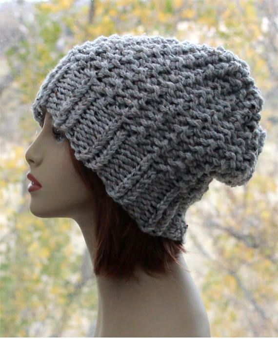 32f2032e554 Crochet Womens Hat Slouchy Beanie Knit Textured Winter Hat Chunky Slouch Hat  in Grey Marble
