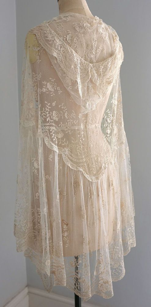 Antique/vintage tambour lace cape/shawl with hood - damaged