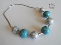 Necklaces : Cyan, Gray & Silver Neclace