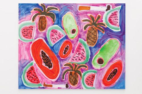 Katherine Bernhardt, Hawaiian Punch, 2014, acrylic and spray paint on canvas, 2.4 x 3 m