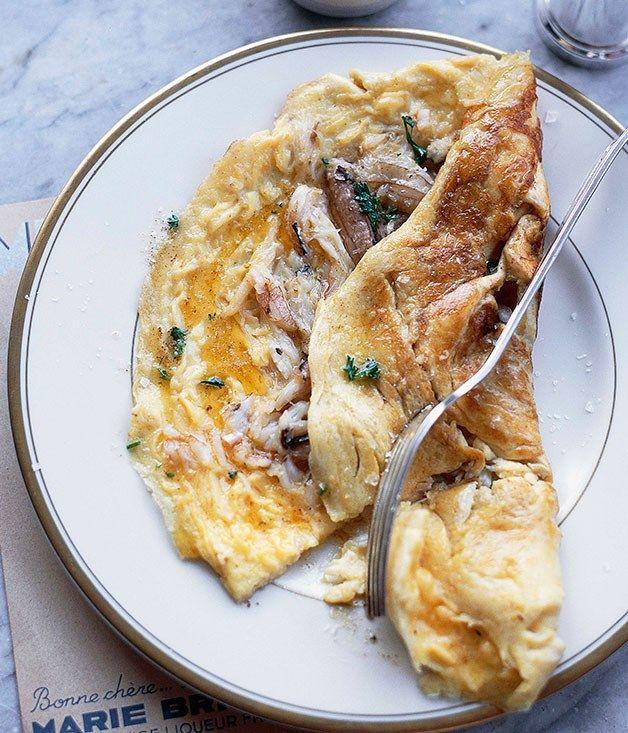 Australian Gourmet Traveller and Damien Pignolet Bistro Moncur breakfast recipe for blue swimmer crab omelette