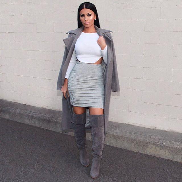 Shades of grey  Yesterday's #OOTD Top & Skirt @hotmiamistyles Coat @missguided Boots @lolashoetiquedolls  #glamrezy #amrezy