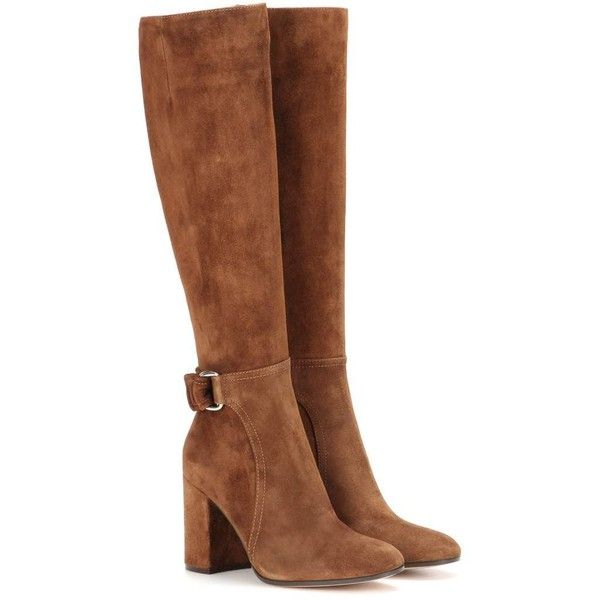 Gianvito Rossi Lawrence Suede Knee-High Boots (£1,260) ❤ liked on Polyvore featuring shoes, boots, botas, brown, heels, knee boots, gianvito rossi, suede leather boots, brown knee boots and brown boots