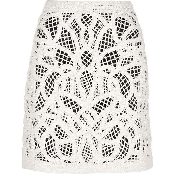 River Island Cream crochet mini skirt (£45) ❤ liked on Polyvore featuring skirts, mini skirts, cream, women, tall skirts, short white skirt, print mini skirt, white mini skirt and short mini skirts