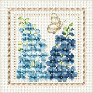 July - Larkspur, Project 2010 - Flower of the Month, designed by Ellen Maurer-Stroh, from EMS Cross Stitch Design.