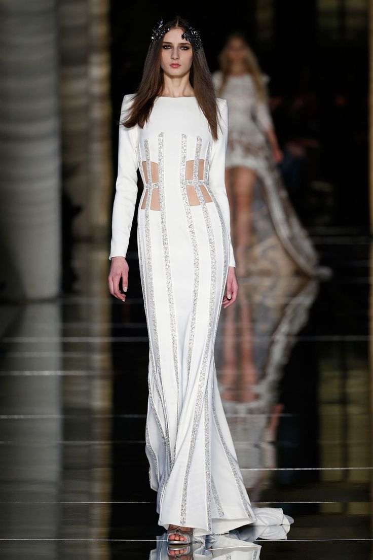 Couture Spring/Summer 2016 White crepe long sleeve dress with cutaway boned panels at the waist