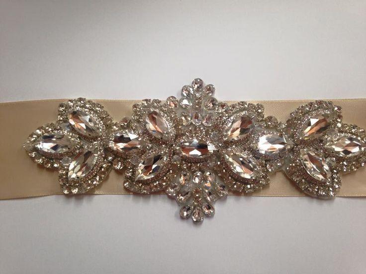 Handmade rhinestone bridal sash / belt
