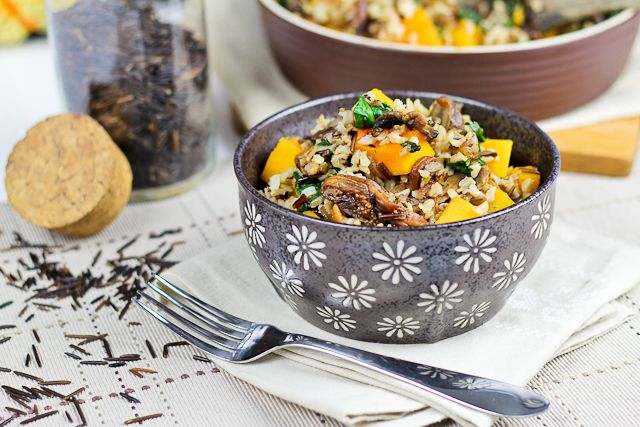 brown wild rice dish with butternut squash spinach and figs brown rice ...