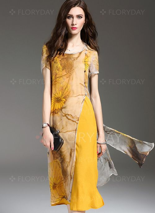 Dresses - $39.99 - Silk Floral Short Sleeve Mid-Calf Vintage Dresses (1955105574)