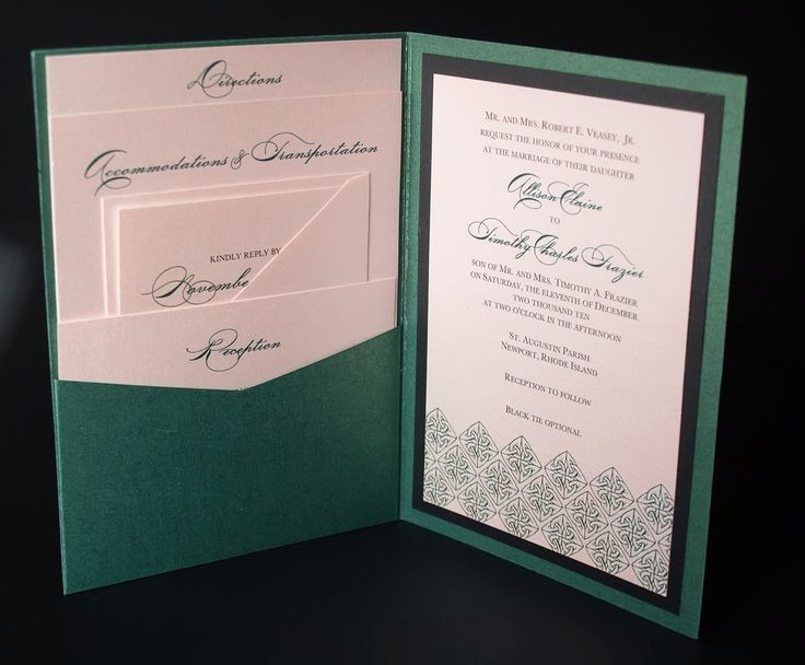 irish green celtic wedding invitation a7 pocket folded With traditional folded wedding invitations