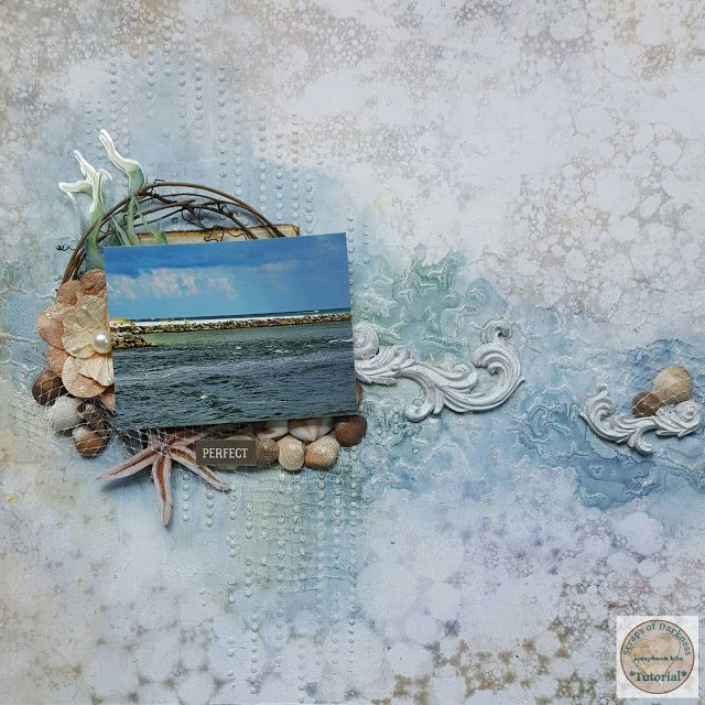 Scraps of Darkness scrapbook kits DIY video tutorial: mixed media beach layout w/our June2017 Seaside kit, by Jessica McFall. 49 and Market Sand and Sea