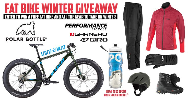 2017 Winter FatBike Giveaway | One (1) Grand Prize winner will receive 1 2017 Fuji Wendigo 2.1 Fat Bike, 1 Polar Bottle Big42 Bottle and Bike Cage, 1 Garneau Cove Hybrid Jacket, 1 Garneau Bigwill Gloves, 1 Garneau Alcove Hybrid Pants, 1 Garneau Klondike Shoes , 1 Giro Timberwolf Helmet. TOTAL VALUE $2,118.94