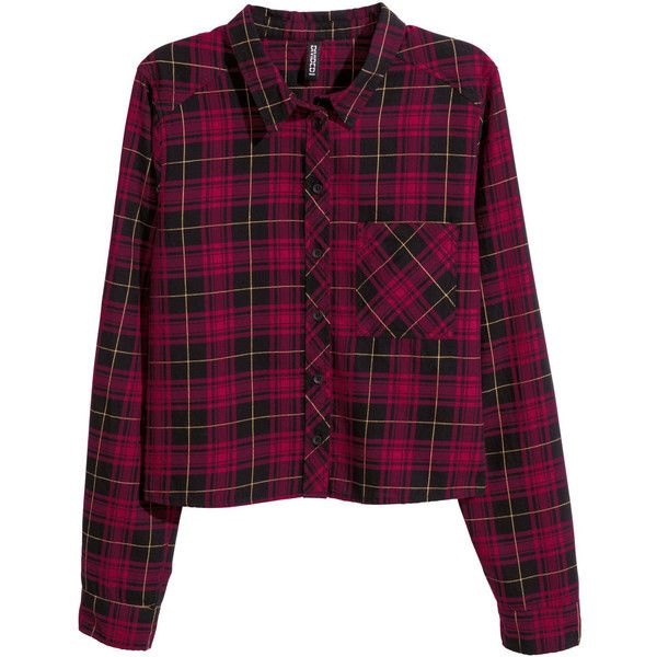 H&M Short shirt (€18) ❤ liked on Polyvore featuring tops, shirts, flannel, plaid, purple collared shirt, h&m, long sleeve shirts, purple shirt and long sleeve plaid shirts