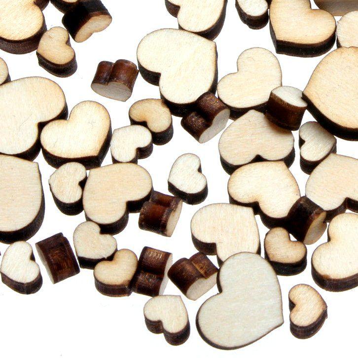 Dřevěné kabošony - srdíčka, MIX, 50 kusů