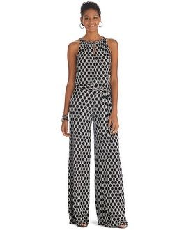 White House | Black Market Sleeveless Printed Wide Leg Jumpsuit. Wore it Sat to baby shower.  Very cute and classy.