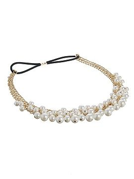 Layered Pearl Embellished Stretch Headband