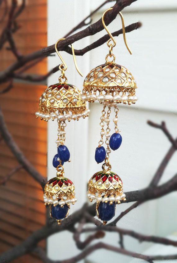 JHUMKAS PEARL Jhumka Earrings Freshwater Pearl by taneesijewelry, $129.99