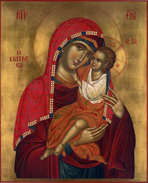 "Modern, Byzantine Orthodox rendition of the miraculous icon of Panagia Giatrissa ""The Healer."""
