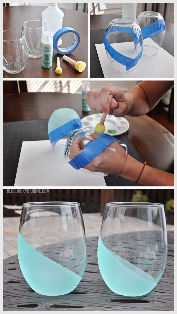 DIY Dip Dyed Frosted Wine Tumblers in