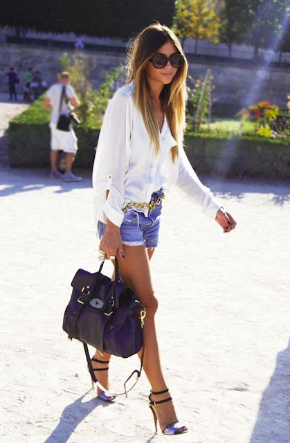 White shirt with denim.....totally chic. The Mulberry bag is to die for!