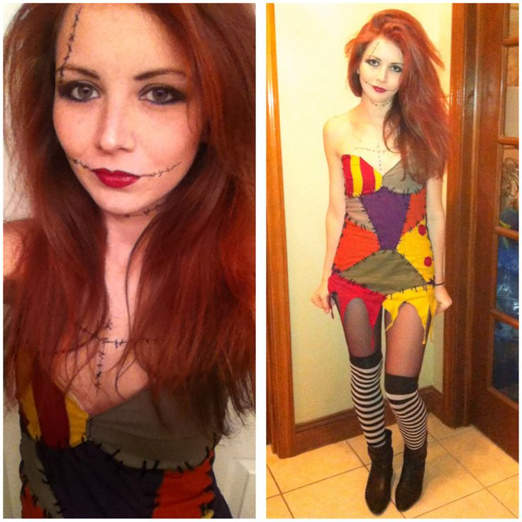 I wanted to create my own take on Sally, so I redesigned her outfit and made it out of fabric remnants. Then used yarn to simulate large stitches. I found the perfect tights at Halloween Spirit store and paired the outfit with my favorite old pair of leather ankle boots. The temporary red hair dye acted more like hair spray and somehow managed to make my big hair even bigger. I had so much fun bringing Tim Burton's infamous rag doll to life.