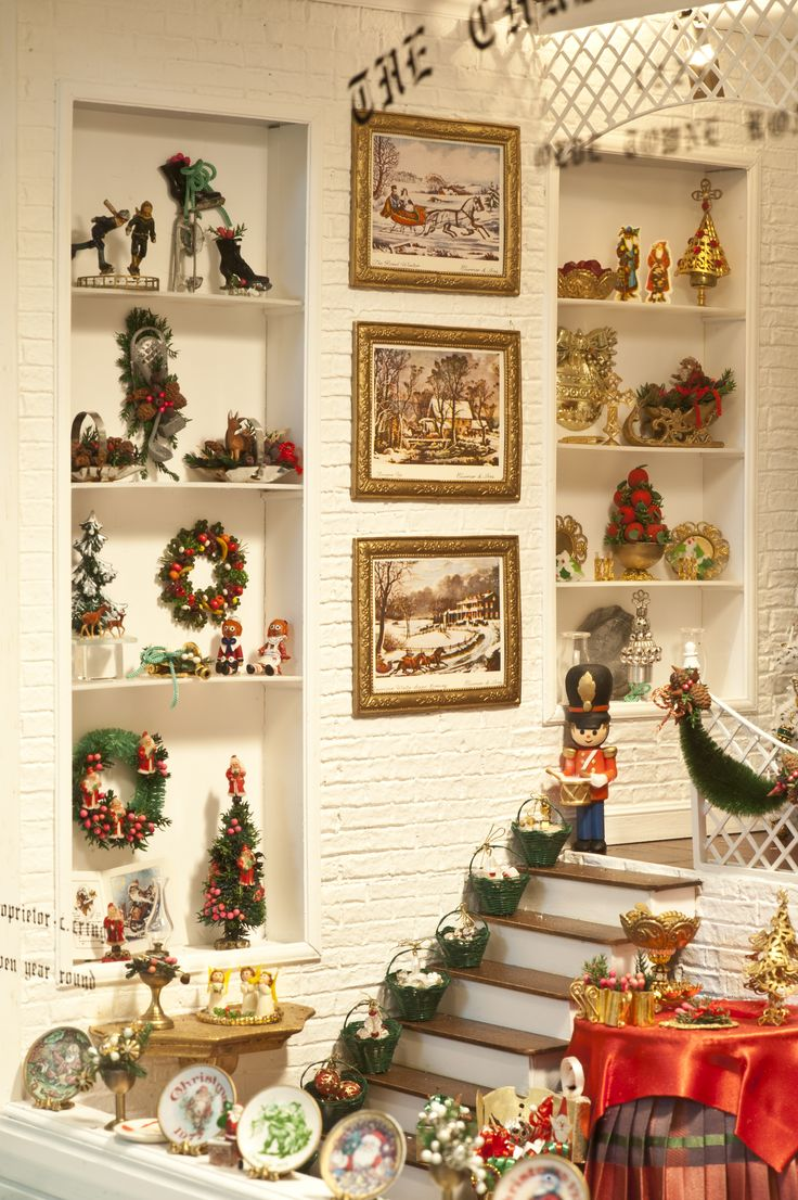 shelf detail in the christmas shoppe in the mini time museum of miniatures - Dollhouse Christmas Decorations
