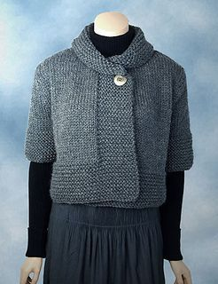 A cropped cardigan with a cozy shawl collar and bold garter stitch accents. Subscribe to KnitBits for free patterns and weekly newsletter.