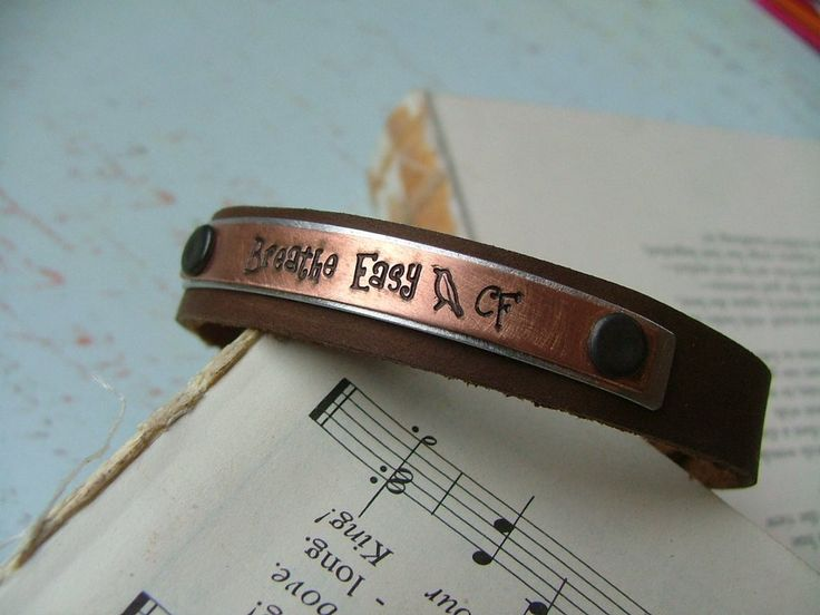 www.MyBellaMarketplace.com  #MyBellaMarketplace  Mixed Metals Breathe Easy Custom Hand Stamped Cystic Fibrosis Leather Hand Stamped Cuff by MyBella