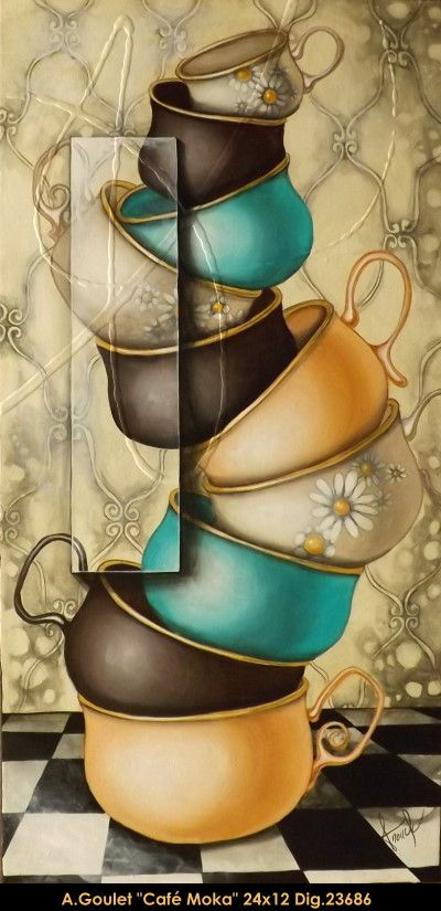 Oeuvre original par / original painting by: Anouck Goulet. multi-art.net/... #art #anouckgoulet #multiartltee #teacups #acrylicpainting #canadianartist #quebecartist #balcondart