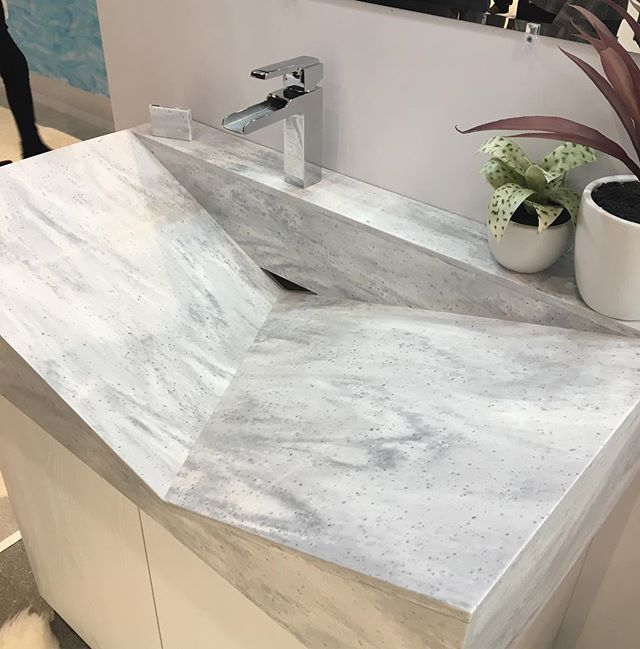 Is Defying Gravity With The Hanex Solid Surfaces. The Material Is  Thermoformed To Create Unique Shapes, Like This Angular Sink. Oh The  Possibilities!