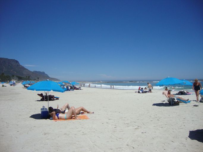 sunshades and beach chairs are provided from locals